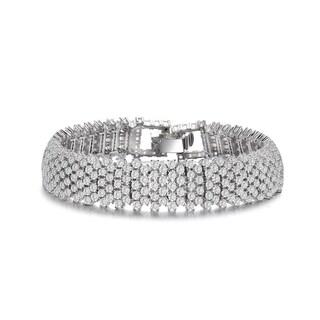 Collette Z Sterling Silver Clear Cubic Zirconia 4-row Tennis Bracelet