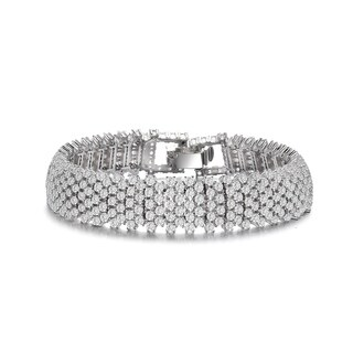 Collette Z Sterling Silver Clear Cubic Zirconia 4-row Tennis Bracelet