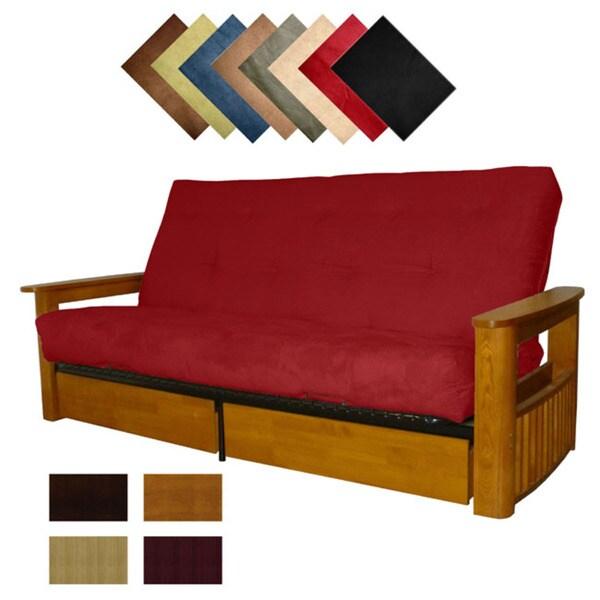 shop columbus microfiber suede inner spring full size futon sofa bed sleeper on sale free. Black Bedroom Furniture Sets. Home Design Ideas