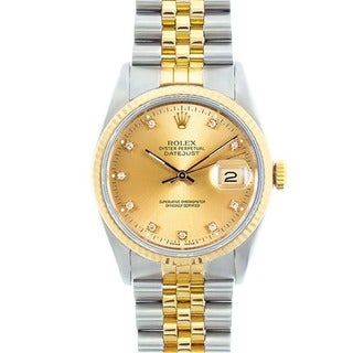 Pre-owned Rolex Men's Datejust Stainless Steel Yellow Gold Champagne Diamond Dial Watch