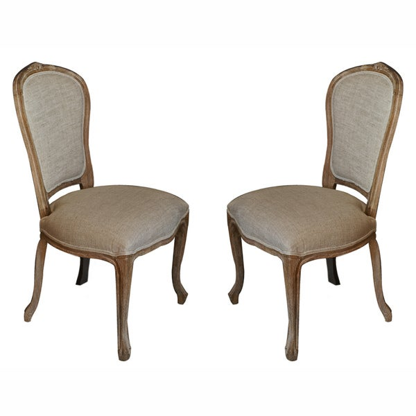 Nuloom casual living weathered vintage french upholstered for Upholstered linen dining chairs