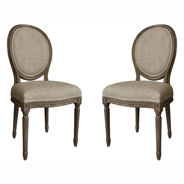 Nuloom Casual Living Vintage French Round Back Upholstered Linen Dining Chairs Set Of 2