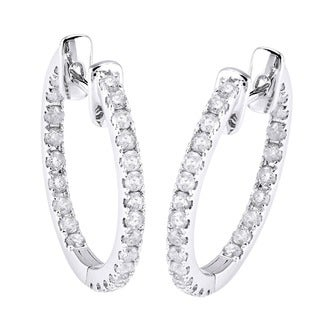 Beverly Hills Charm 14k White Gold 1/2ct TDW Diamond Inside-out Hoop Earrings