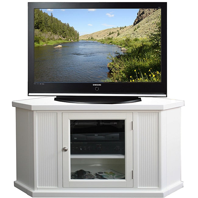 White 46-inch Corner TV Stand & Media Console - Thumbnail 0