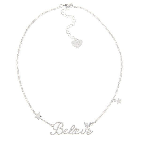Disney Silverplated Clear Glass 'Believe' Necklace