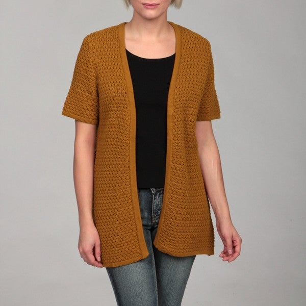 Evan Picone Women's Vicuna Textured Short Sleeve Cardigan FINAL SALE