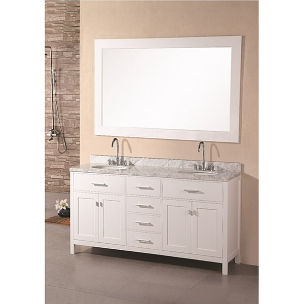 Design Element 61 inch Solid Wood Pearl White Marble Transitional Bathroom Vanity Set