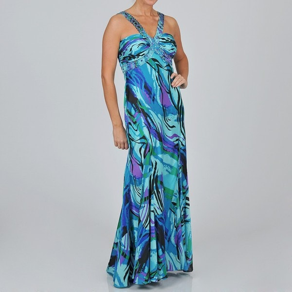 Ignite Evenings Women's Printed Sequin Embellished Evening Gown
