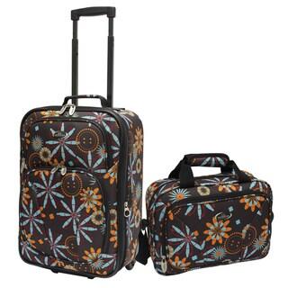U.S. Traveler Chocolate Flower Fashion 2-piece Carry-on Luggage Set