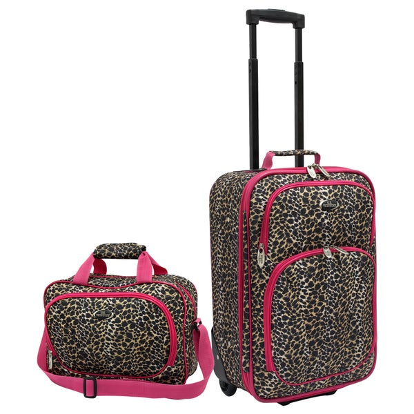 U.S. Traveler by Traveler's Choice Pink Leopard 2-piece Carry-on Luggage Set