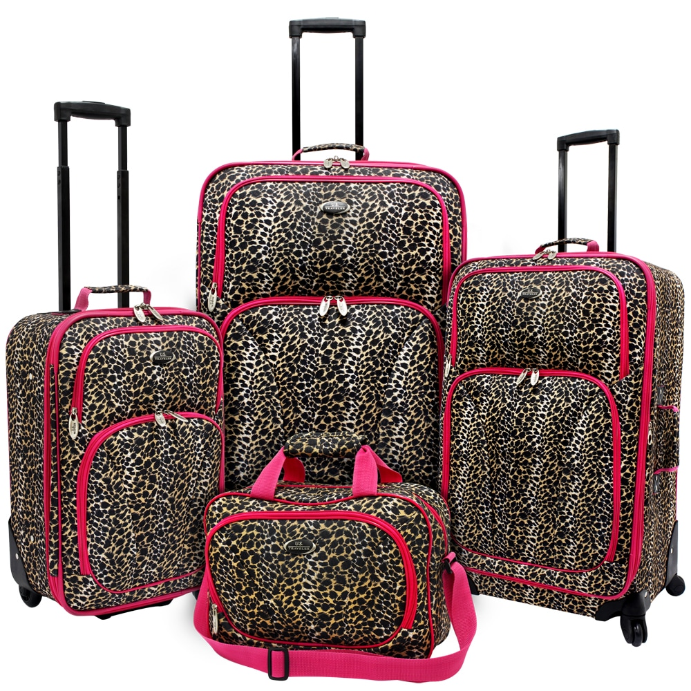 U.S. Traveler by Traveler's Choice Pink Leopard Fashion 4-piece Spinner Luggage Set