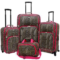 U.S. Traveler by Traveler's Choice Pink Leopard Fashion 4-piece ...