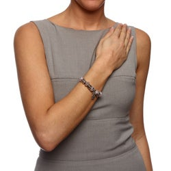 Eternally Haute Silver Overlay Murano-style Glass Evil Eye Charm Bracelet - Thumbnail 2