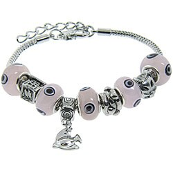 Eternally Haute Silver Overlay Glass Evil Eye Charm Bracelet