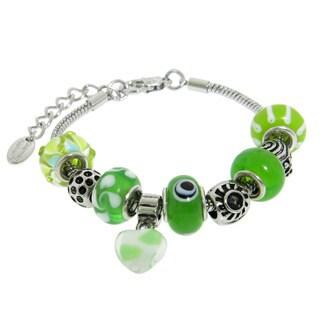 Eternally Haute Silver Overlay Glass Charm Bracelet