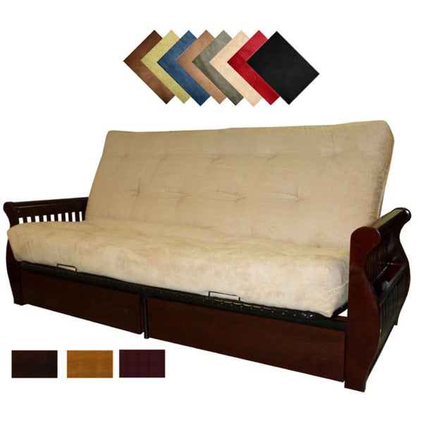 shop lexington microfiber suede inner spring queen size futon sofa bed sleeper on sale free. Black Bedroom Furniture Sets. Home Design Ideas