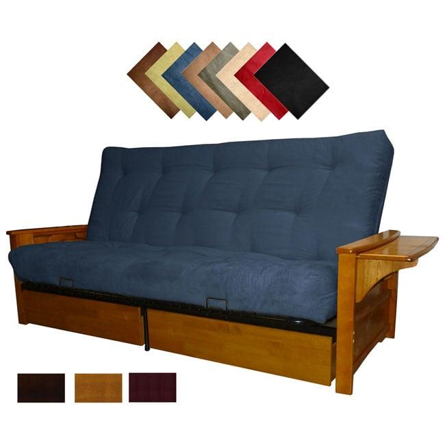 Bellevue Microfiber Suede Inner Spring Full-size Futon Sofa Bed Sleeper (Mahogany Finish - Dark Blue)