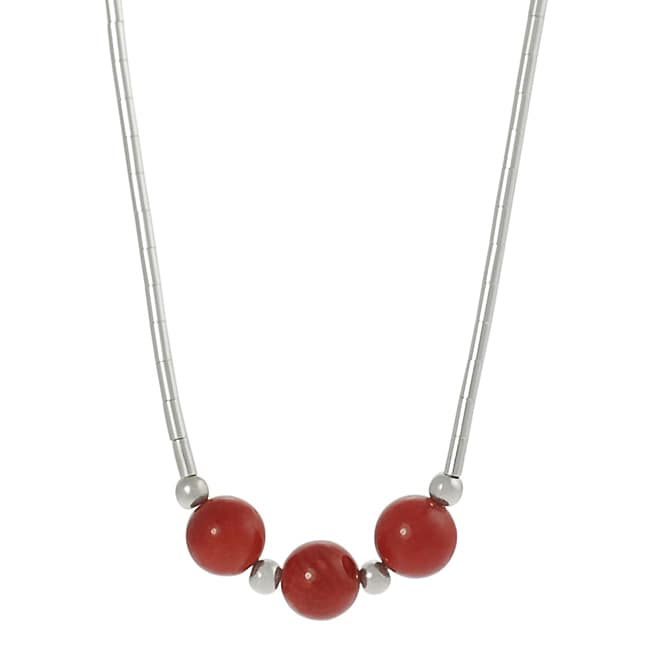 Journee Sterling Silver Children's Created Red Coral Bead Necklace