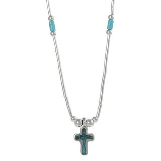 Journee Collection Sterling Silver Children's Created Turquoise Cross Necklace