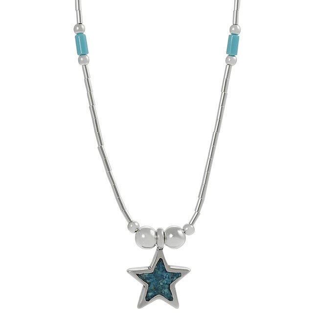 Journee Collection Sterling Silver Children's Created Turquoise Inlay Star Necklace