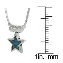 Journee Collection Sterling Silver Children's Created Turquoise Inlay Star Necklace - Thumbnail 2