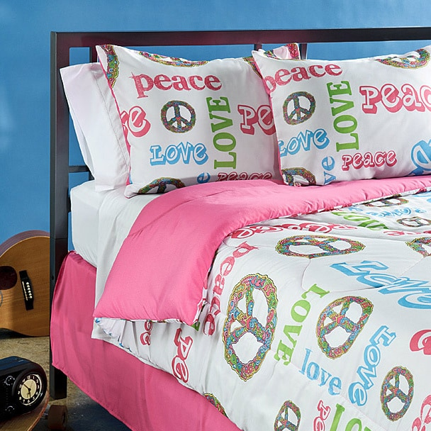 Veratex Peace Time Queen-size 4-piece Comforter Set (Pink...
