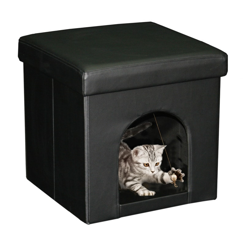 Black Compact Faux-leather Hardboard Ottoman with Small Pet Space