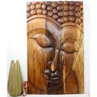 Handmade 30 x 47 Walnut Oiled 'Serene Buddha' Acacia Panel (Thailand)