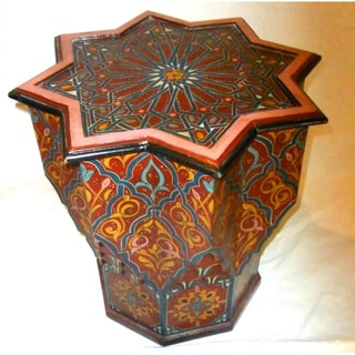 Hand-painted Burgundy Arabesque Wooden End Table (Morocco)