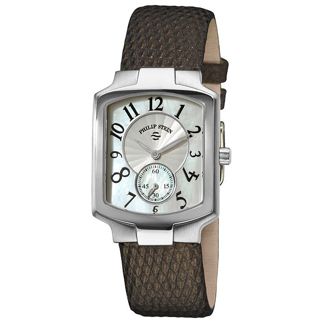 Philip Stein Women's Classic Metallic Brown Leather Strap Watch