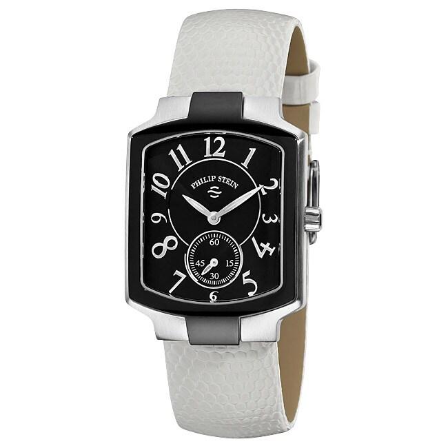 Philip Stein Women's Classic White Leather Strap Watch