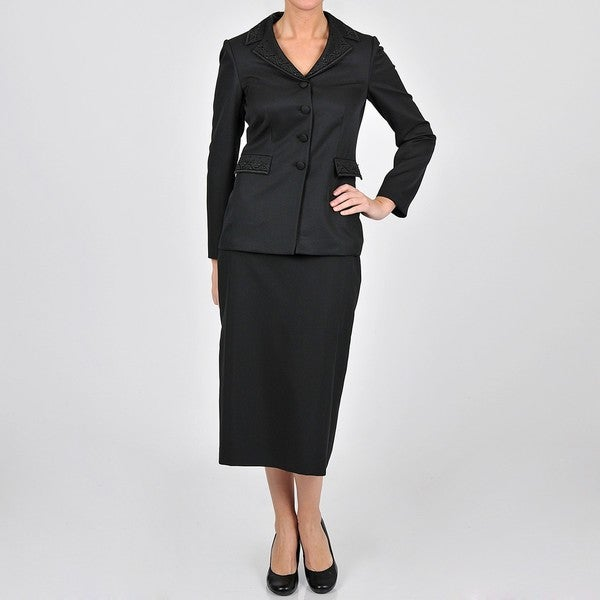 Emily Women's Plus Size Black Embroidered 4-button Skirt Suit