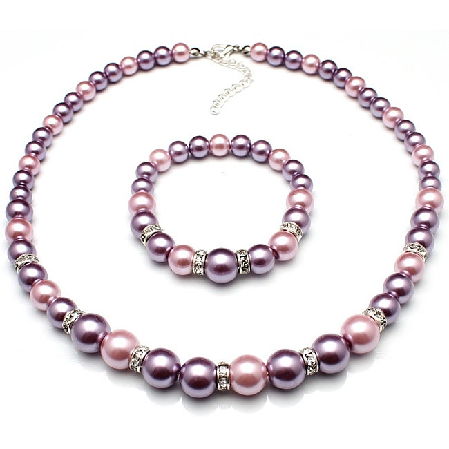 Bleek2Sheek Pastel Purple and Mauve Glass Pearl Necklace, Bracelet and Earring Jewelry Set