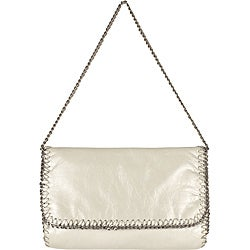 Latico Mimi 'Crawford' Flapover Chain White Leather Shoulderbag