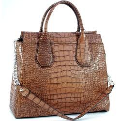 Dasein Faux Leather Embossed Croco Satchel