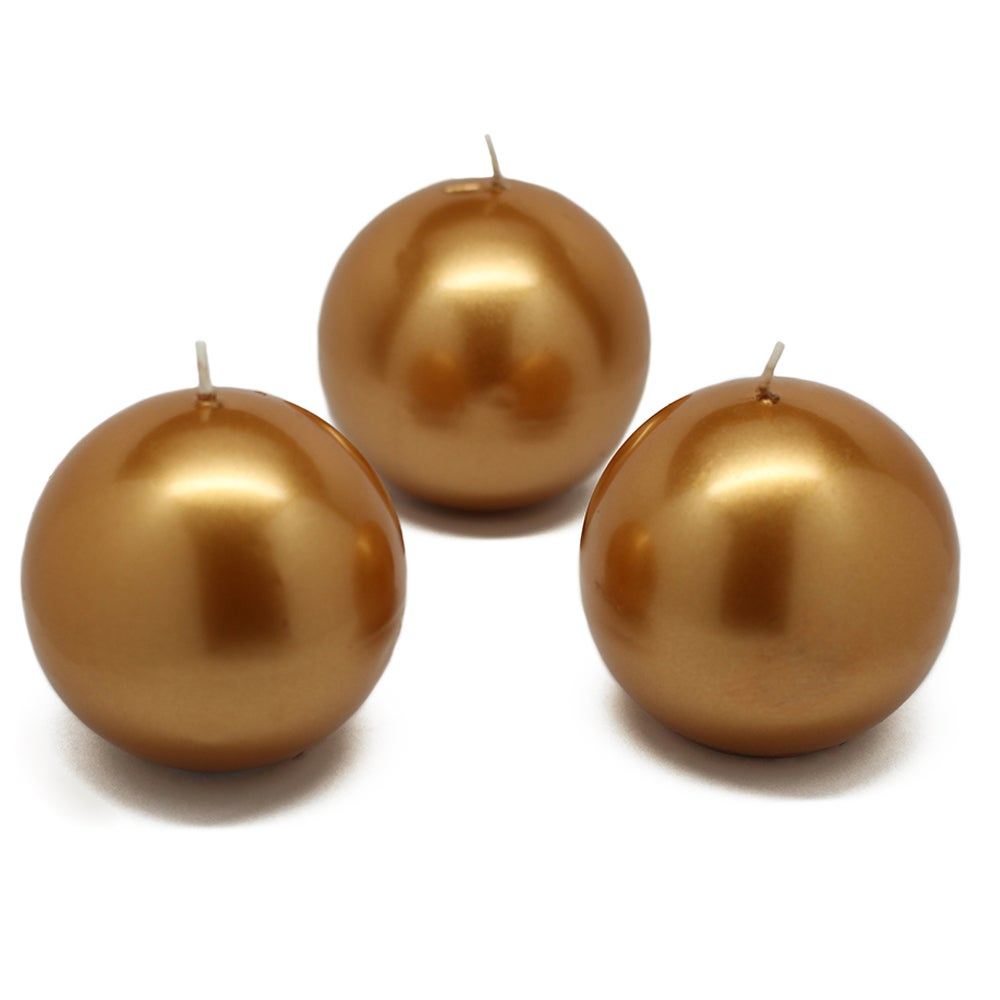 Jeco 3-inch Ball Candles (Case of 6) (Metallic Gold) (Par...
