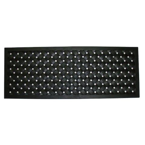 Black 30-inch x 18-inch Braided Rubber Mat - Door Mat