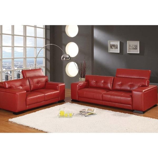 Malibu Red 2-piece Sofa Loveseat Set