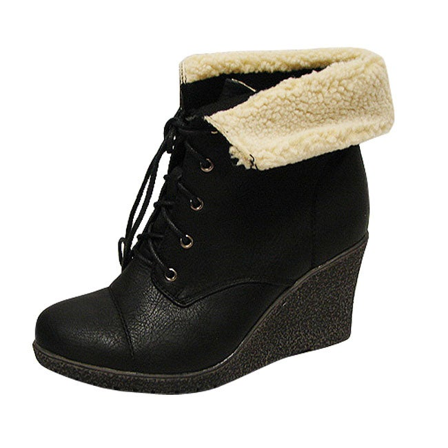 Bucco Ladies 'Jorita' Black Wedge Lace Up Booties