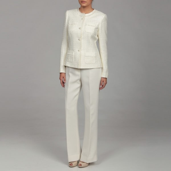 Tahari Women's Ivory/ White Three-button Pant Suit - Free Shipping ...