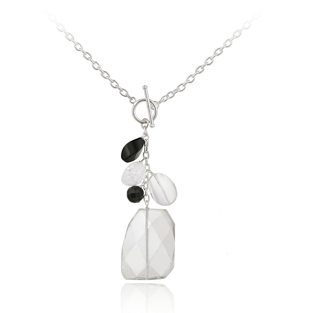 Glitzy Rocks Rhodium-plated Crystal and Onyx Toggle Necklace