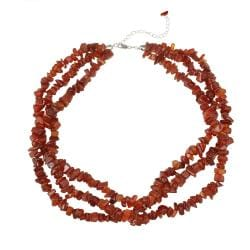 Glitzy Rocks Sterling Silver Carnelian Chip 3-strand Necklace