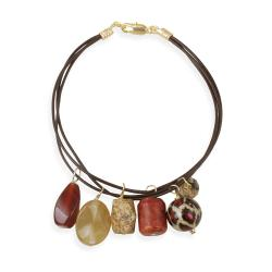Glitzy Rocks Goldplated Multi-gemstone Charm Bracelet