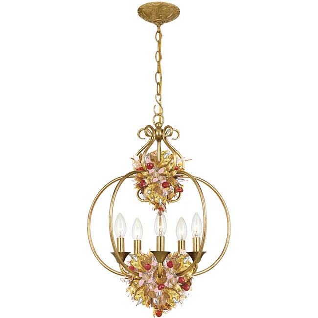 Fiore 5-light Antique Gold Leaf Pendant Fixture