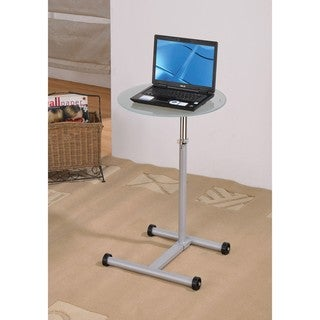 Clear Glass Grey Wheeled Laptop Stand