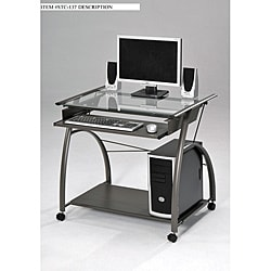 Glass and Metal Computer Desk