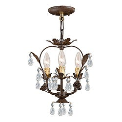 Crystorama Paris Flea Market Collection 3-light Dark Rust/ Crystal Chandelier
