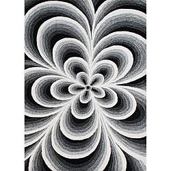 Alliyah Handmade Tufted Black/ White Flowers New Zealand Blend Wool Rug (8' x 10')
