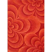 Alliyah Handmade Red New Zealand Blend Wool Rug (5' x 8') - 5' x 8'