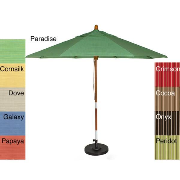 PHAT TOMMY 9 Foot Sunbrella Fabric Marenti Wood Market Patio Umbrella